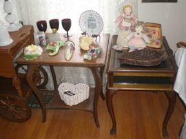 Smaller parlor table and side table with opening glass top for display, wall pockets, rub goblets, dolls, shades, baskets.
