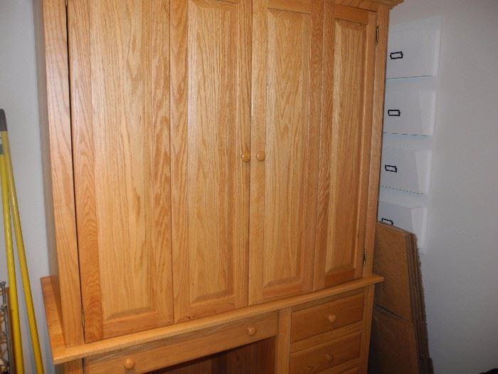 Two piece armoire/desk