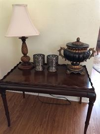 Quaint side table, lamp, candle holders, urn