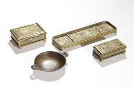 4 TIFFANY STUDIOS Bronze Desk Items