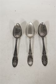 3 Serving Spoons in Coin Silver