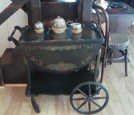 Tole painted vintage tea cart