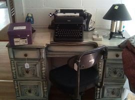 Desk painted a shade of blue, vintage Royal typewriter, (sold), mid century metal office lamp, vintage office chair