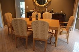 Beautiful Contemporary Dining Room Table and 8 Upholstered Chairs