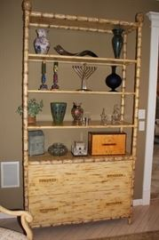 Shelf / Cabinet Unit in Bamboo with Decorative Items and Menorah
