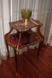 Stenciled Occasional Table with Marble Top and Decorative