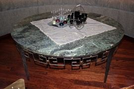 Round Marble Top Coffee Table with Serving Pieces