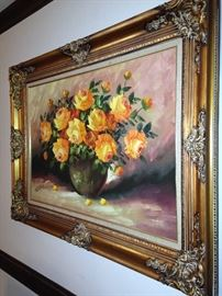Yellow roses - oil on canvas by Franks