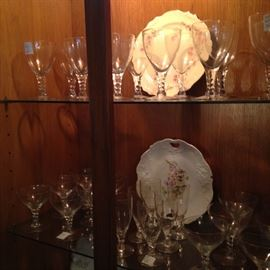 The china cabinet has accent lights.