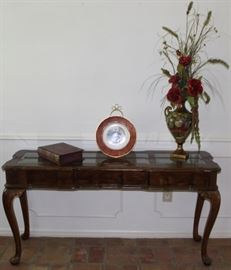 "Sofa/Entry Table on Cabriole Legs with 3-Bevel Panel Glass Top (54""W x 17.5""D x 27""H) shown with Painted fruit Urn Vase (16"") with silk florals, Century by Salem 23k Gold Decorated Cabinet Plate depicting Victorian Landies and. Burgundy ""Jane Eyre"" Wood Box"