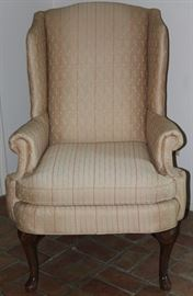Perfection Queen Anne Style Gold Upholstered Wing Back Chair raised on Cabriole Legs