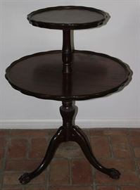 "Antique Mahogany Piecrust Edge 2-Tier Pedestal Table on Splatted Claw Footed Cabriole Tripod Legs. Lower tier is 24""D, top tier is 14.5""D x 32""H"