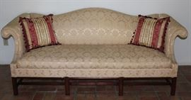Hickory Furniture Co. Ecru Brocade Upholstered Chippendale Style Camel Back Sofa