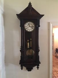 Vienna Regulator Walnut Wall Clock by German Clockmaker Gustav Becker (1819-1885) Clocked has been cleaned and is in working condition.