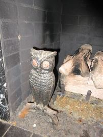 Pair of cast iron owl andirons