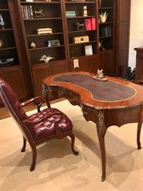 kidney-shape desk & leather desk chair