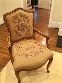 Pair of needlepoint arm chairs