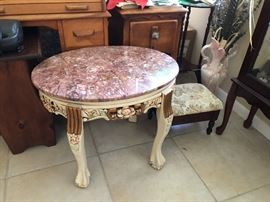Pink marble top table