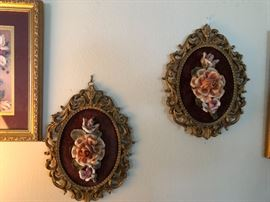 Framed porcelain flowers