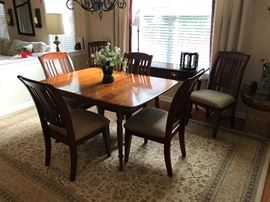 Solid Cherry Table and 6 chairs with additional leaf