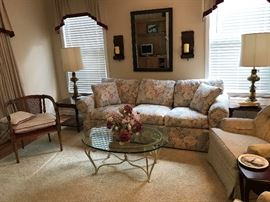 Sofa, Lamp Tables, Upholstered chairs, Cane back club chair.