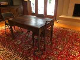 antique handmade table    area rug