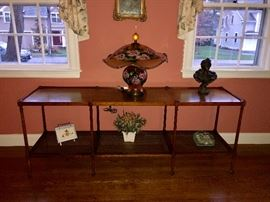 Bamboo style table with caned bottom