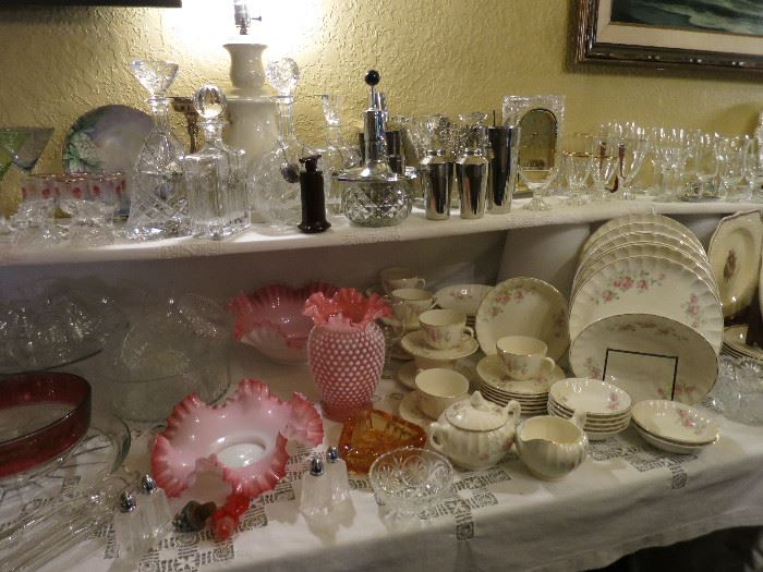 Fenton Crimped Ruffle Bowls And Vase, WS George China, Crystal Decanters, Barware