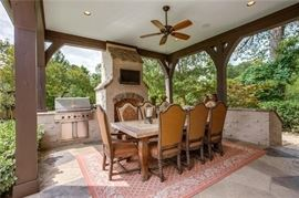 Gorgeous Outdoor Dining Set with Inlaid Stone Top and 8 Chairs