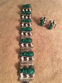 1960's sterling and green onyx (Mexico)