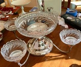 Victorian silverplate and crystal epergne