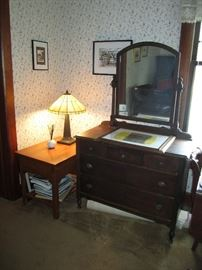 Antique dresser, stained glass lamp