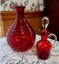 Ruby Red Vase & Crackle Glass Cruet