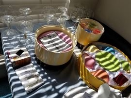 bar items, desert plates, coffee sets