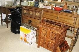 vintage desk with matching bookcase and small table. lace cut out furniture