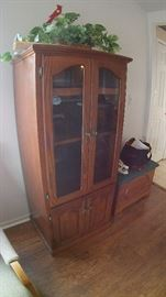 Custom made Amish stereo cabinet and signed cedar lined Amish chest.