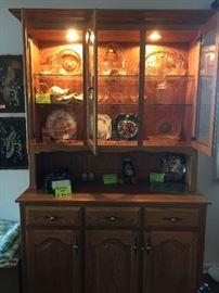 Shipshewana handmade lighted china cabinet