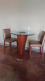 Modern teak and heavy glass top bistro table set