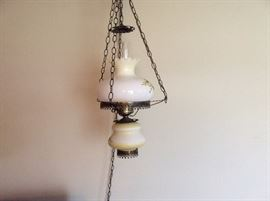 ONE OF 2 MATCHING VINTAGE HANGING LAMPS