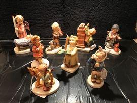194 Watchful Angel (TMK6); 317 Not For You (TMK5) 439; 118 Little Thrifty - no key (TMK5); 1 Puppy Love (TMK3); 217 Boy w/ Toothache(TMK4); 439 A Gentle Glow (TMK6);  20 Prayer before Battle(TMK5);  and  469 The Kindergartner (TMK6) by Berta Hummel