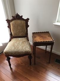 Antique walnut chair - $75.  Lane side table sold