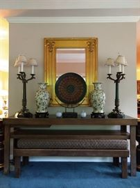 Long, low and lovely Chinese console table, with matching slide-out bench, for those last minute party guests. Nice pair of Chinese porcelain vases, with wooden stands, dinner gong (come and git it!) and great pair of 3-light Maitland-Smith marble and bronze table lamps. Don't forget the gilt mirror!