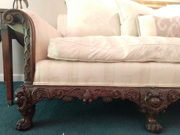 LOVE the carving detail on this couch!