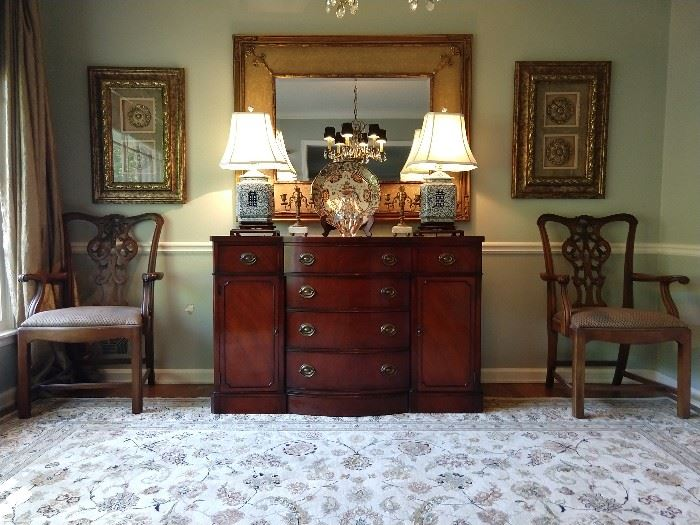 Beter pic of the Drexel buffet and extra pair of mahogany Chippendale armchairs.