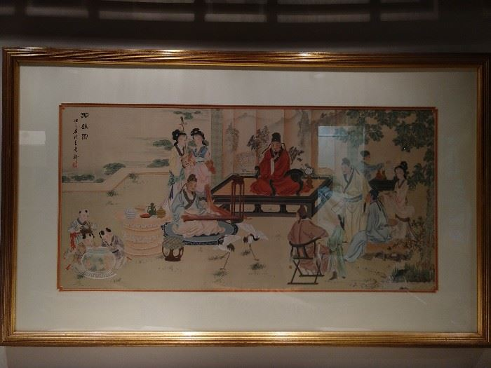 Beautifully painted, artist signed artwork, on silk, nicely framed and matted to boot!