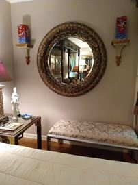 4' diameter beveled glass round wall mirror, nice pair of wall brackets, with pair of red & blue Japanese vases.