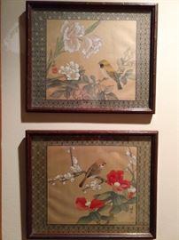 Sweet pair of nicely framed, artist signed Chinese original art.