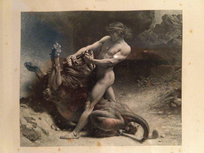 "Hercules, Hercules!                                                                                                    Title is ""Samson's Youth"". Artist is Bonnat. Authentic antique folio photogravure print on paper, dating to 1891, as published by the Salon de Paris."