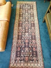 """Vintage Persian Malayer hand woven runner, 100% wool face, measures 3- 4"""" x 10'."""