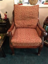 Empire mahogany armchair, with awful upholstery, but we ALL need more projects!